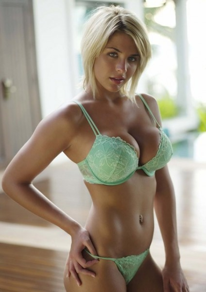 hot blonde in lingerie