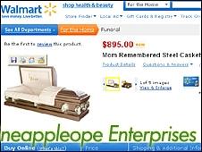Mom Remembered Steel Casket (Wal-Mart website)